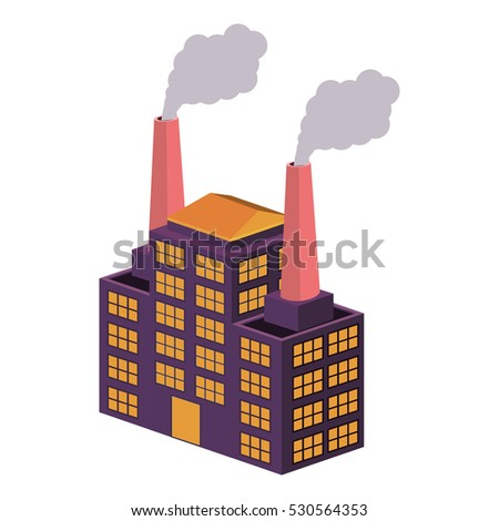colorful big industry with two fireplace
