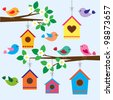 Colorful birds and birdhouses in spring - stock vector