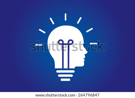colorful bright simple glowing idea light bulb in a young male human head or thinking mind - abstract unique innovative success concept symbol icon with blue background