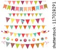 Colorful bunting and garland set isolated on white - stock vector