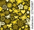 Colorful butterflies in shades of yellow seamless pattern, vector - stock photo