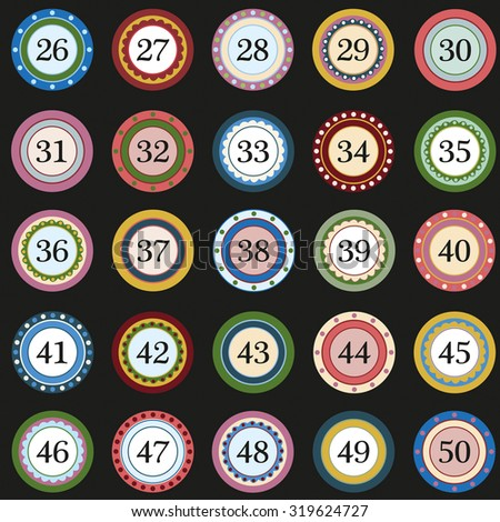Colorful Button with numbers on black background