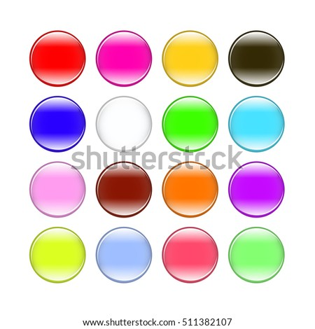 colorful buttons isolated on white background set
