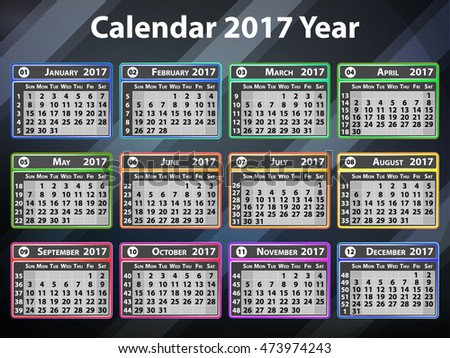 Colorful calendar of 2017 year on Abstract Geometric background. Vector illustration. EPS10.  Abstract template for Your concept Design . Colorful attract attention graphic.
