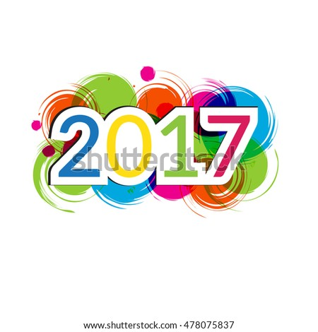Colorful card for New Year 2017