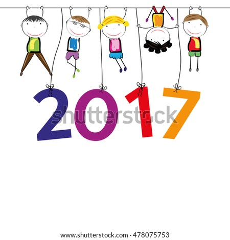 Colorful card for New Year 2017 with happy kids