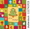 Colorful Christmas card with gingerbread design elements - stock photo