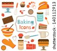 Colorful collection of baking items. Vector illustration - stock vector