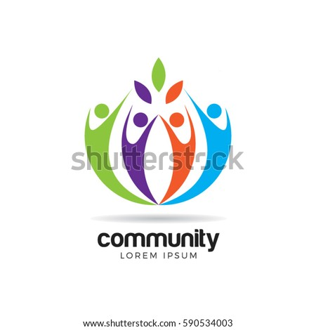 people community family together logo symbol stock vector