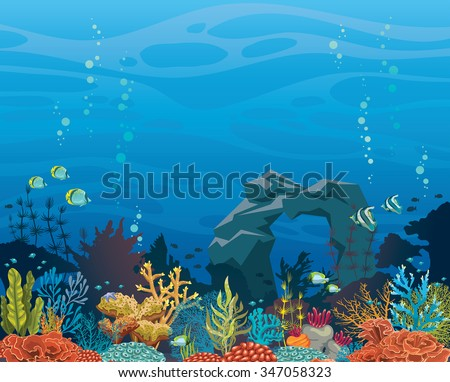 Colorful coral reef with fish and stone arch on a blue sea background. Underwater tropical vector illustration. Natural seascape.
