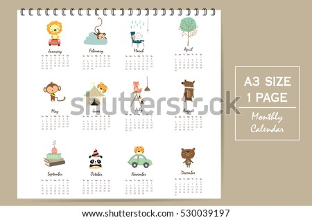 colorful cute monthly calendar 2017 with lion,tiger,panda,tree and bear travel vacation.Can be used for web,banner,poster,label and printable
