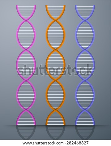 colorful DNA elements and molecules for science and medicine design. DNA strands