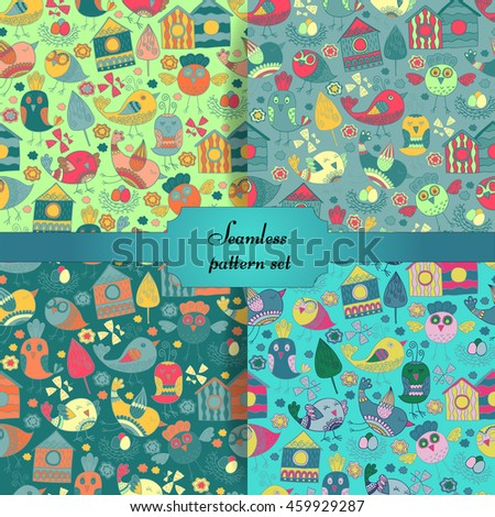 colorful doodle birds seamless pattern set with floral and leaf elements