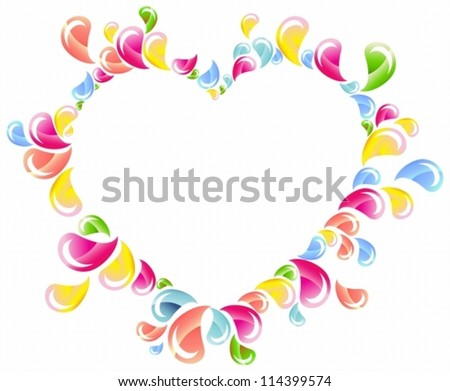 ... drops splashing heart, Abstract background, Valentine frame, vector