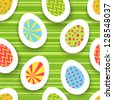 Colorful easter egg seamless background. Vector illustration for your happy funny holiday design. Wallpaper for postcard. - stock vector