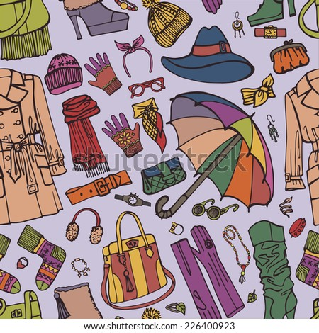 Colorful Fashion wear in seamless pattern.Woman clothes in outline sketch. Autumn ,winter,spring woman fashion. Use for fabrics, Wallpaper,background,packaging paper,backdrop.Vector.
