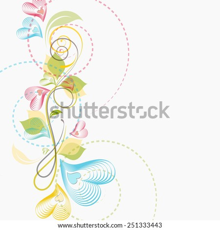 Colorful floral design with hearts shape flowers for Happy Valentine's Day celebration.