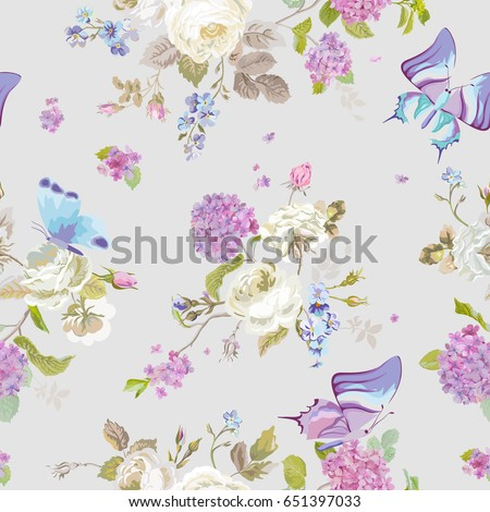 Scrapbook Design Elements Floral Shabby Chic Stock Vector