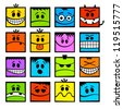 Colorful funny vector emoticons. - stock vector