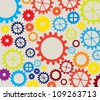 colorful gears over white background - stock photo