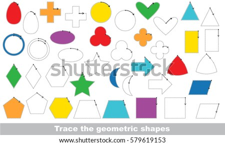 Set Simple Shapes Vector Be Traced Stock Vector 402556003 ...