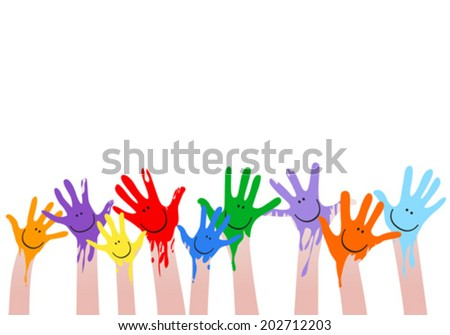 colorful hands with smiling faces