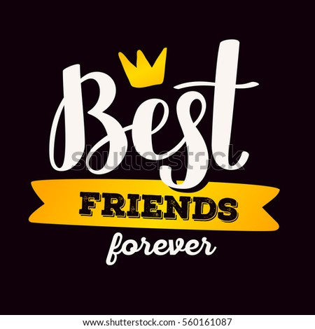 best friends forever blue color stock vector 503391229
