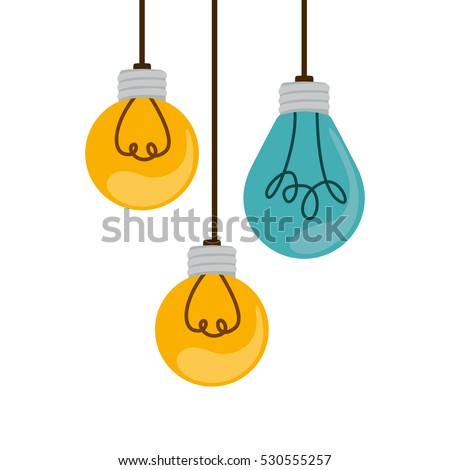 colorful hanging bulbs with filaments