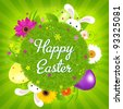 Colorful Happy Easter Card, Vector Illustration - stock vector