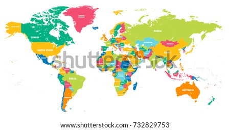 Vector Political World Map Countries Highlighted Stock Vector - The world map with names