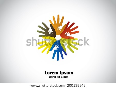 colorful human hands support young children hands abstract art. four colored hands supporting small young kids hands for supportive cause - community development concept