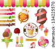 Colorful ice cream emblems set - stock vector