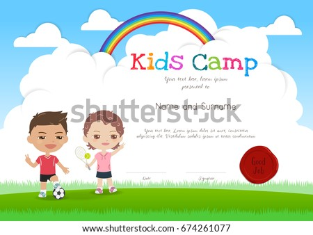Kids summer camp certificate document template stock vector colorful kids summer camp diploma certificate template in cartoon style with smiling boy and girl yadclub Choice Image