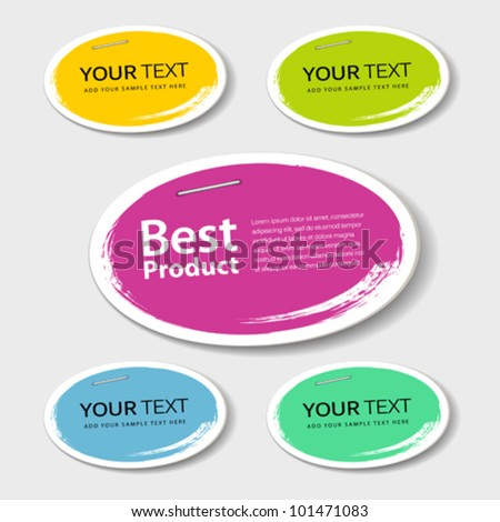 Colorful label paper best product circle brush stroke, vector illustration