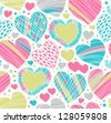 Colorful love ornamental pattern with hearts. Seamless scribble background. Creative fabric texture with many details - stock vector