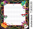 Colorful Mardi gras party invitation with copy space - stock photo