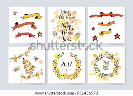 Colorful Merry Christmas flyer. Posters set. Template for Greeting, Congratulations, Invitations. Postcard.