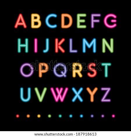 glowing neon bar alphabet used pattern stock vector. Black Bedroom Furniture Sets. Home Design Ideas