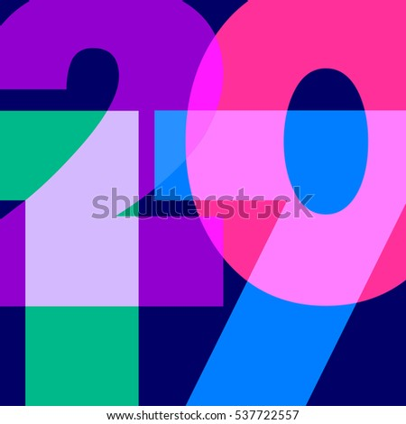 Colorful numbers 2017 in vector closeup on dark background. Happy New year 2017!