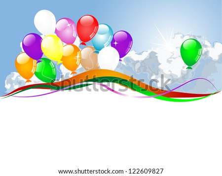 Colorful party balloons with ribbons and stars