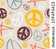 Colorful peace and love hand drawn icons seamless pattern . Vector file layered for easy manipulation and customisation. - stock
