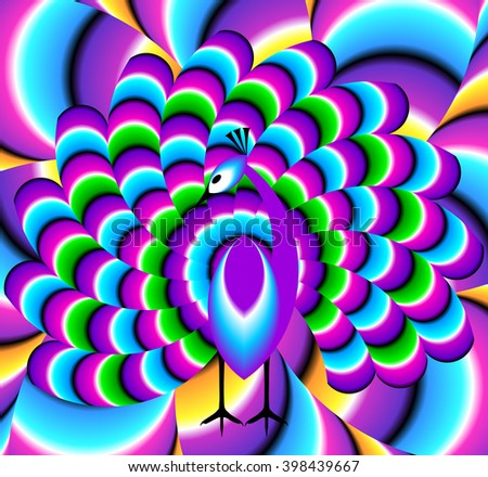 Colorful peacock (spin illusion)
