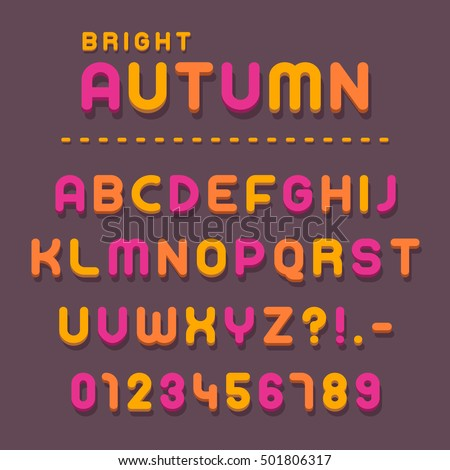 Colorful pink, yellow and orange letters and numbers for the latin alphabet for autumn theme - vector illustration