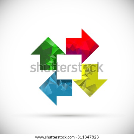 Colorful pointers. Vector illustration. ?ycle arrows. Polygonal texture