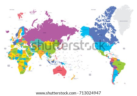 Communications Network Map World Data Process Stock Vector - Map of the world in detail