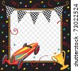 Colorful race car  or soap box derby party invitation with copy space - stock photo