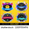 Colorful Retro Music Labels and Badges. Vector Illustration. - stock vector