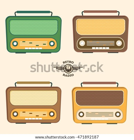 Colorful Retro Radio icon Set. Flat Design style. Vector illustration of four old receivers icons.