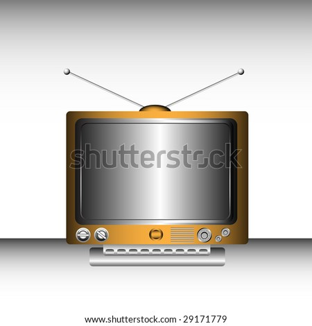 Colorful retro tv with various buttons and huge screen
