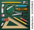 Colorful school supplies, vector illustration. - stock photo